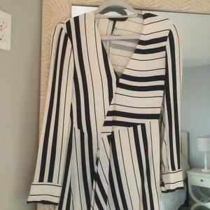 Zara Dresses - Zara Navy and White Asymmetrical Dress XS